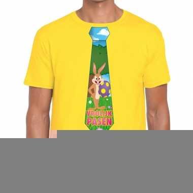 Goedkope pasen shirt geel met paashaas stropdas voor heren