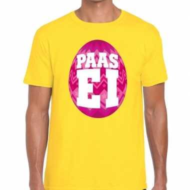Goedkope pasen shirt geel met roze paasei voor heren