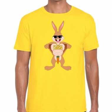 Goedkope pasen shirt geel stoere paashaas voor heren