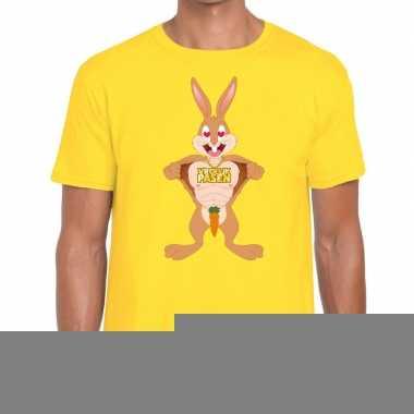 Goedkope pasen shirt geel verliefde paashaas voor heren