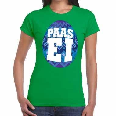 Goedkope pasen shirt groen met blauw paasei voor dames
