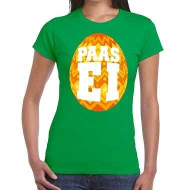 Goedkope pasen shirt groen met oranje paasei voor dames