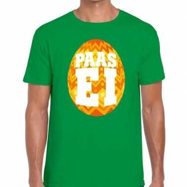 Goedkope pasen shirt groen met oranje paasei voor heren