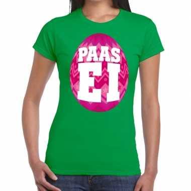 Goedkope pasen shirt groen met roze paasei voor dames