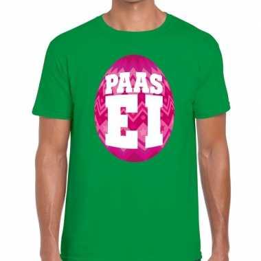 Goedkope pasen shirt groen met roze paasei voor heren