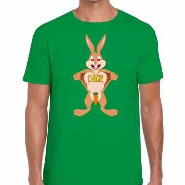 Goedkope pasen shirt groen verliefde paashaas voor heren