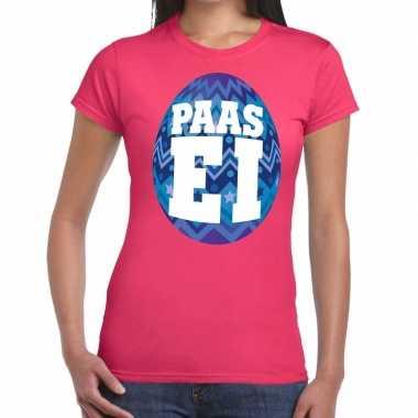 Goedkope pasen shirt roze met blauw paasei voor dames