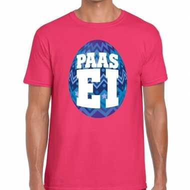 Goedkope pasen shirt roze met blauw paasei voor heren