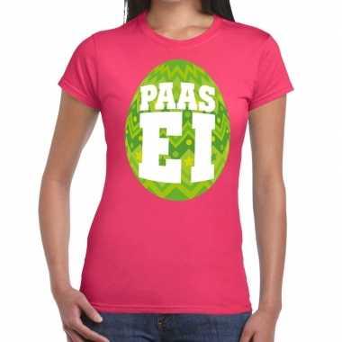 Goedkope pasen shirt roze met groen paasei voor dames