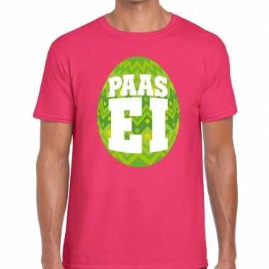 Goedkope pasen shirt roze met groen paasei voor heren