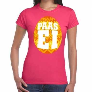 Goedkope pasen shirt roze met oranje paasei voor dames