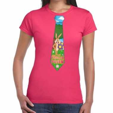 Goedkope pasen shirt roze met paashaas stropdas voor dames