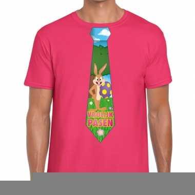 Goedkope pasen shirt roze met paashaas stropdas voor heren