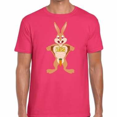 Goedkope pasen shirt roze verliefde paashaas voor heren