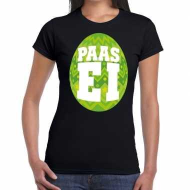 Goedkope pasen shirt zwart met groen paasei voor dames