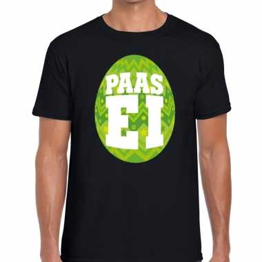 Goedkope pasen shirt zwart met groen paasei voor heren