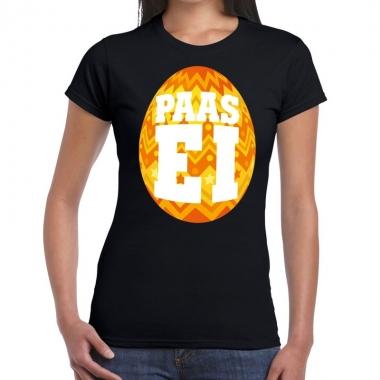 Goedkope pasen shirt zwart met oranje paasei voor dames