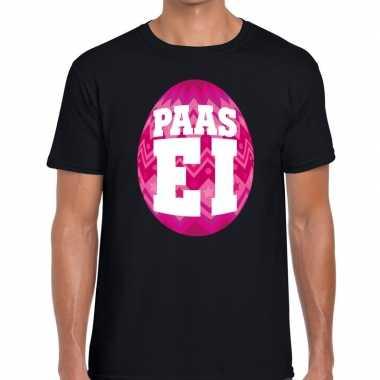 Goedkope pasen shirt zwart met roze paasei voor heren