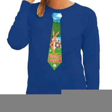 Goedkope pasen sweater blauw met paashaas stropdas voor dames