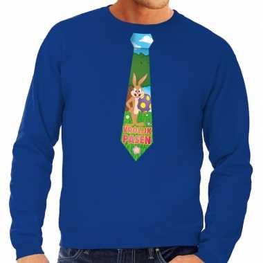 Goedkope pasen sweater blauw met paashaas stropdas voor heren