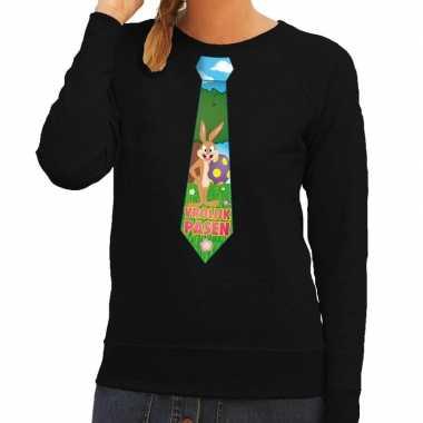 Goedkope pasen sweater zwart met paashaas stropdas voor dames