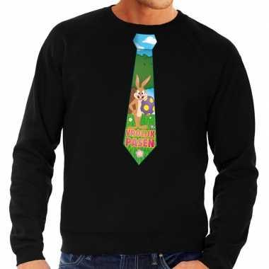 Goedkope pasen sweater zwart met paashaas stropdas voor heren