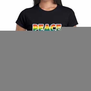 Goedkope peace gay pride tekst/fun shirt zwart dames