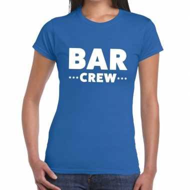 Goedkope personeel t shirt blauw met bar crew bedrukking voor dames