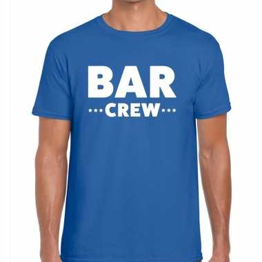 Goedkope personeel t shirt blauw met bar crew bedrukking voor heren