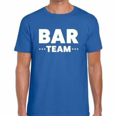 Goedkope personeel t shirt blauw met bar team bedrukking voor heren