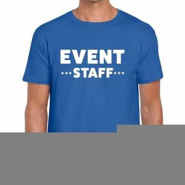Goedkope personeel t shirt blauw met event staff bedrukking voor here