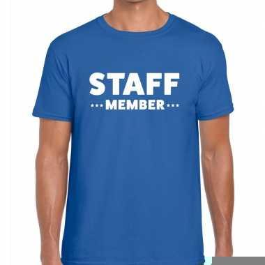 Goedkope personeel t shirt blauw met staff member bedrukking voor her