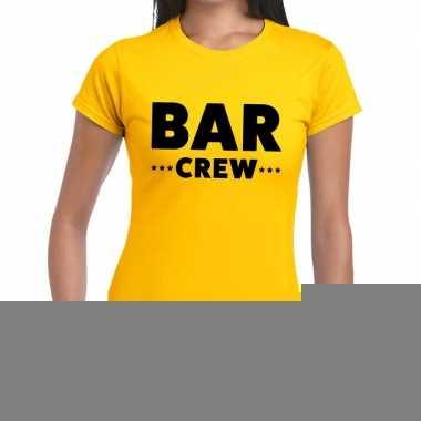 Goedkope personeel t shirt geel met bar crew bedrukking voor dames