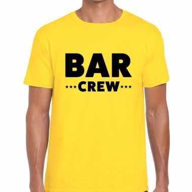 Goedkope personeel t shirt geel met bar crew bedrukking voor heren