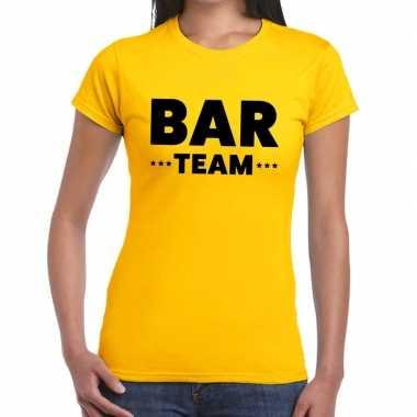Goedkope personeel t shirt geel met bar team bedrukking voor dames