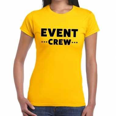 Goedkope personeel t shirt geel met event crew bedrukking voor dames