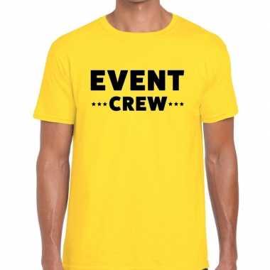 Goedkope personeel t shirt geel met event crew bedrukking voor heren