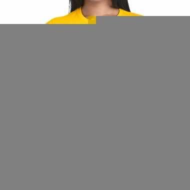 Goedkope personeel t shirt geel met event staff bedrukking voor dames
