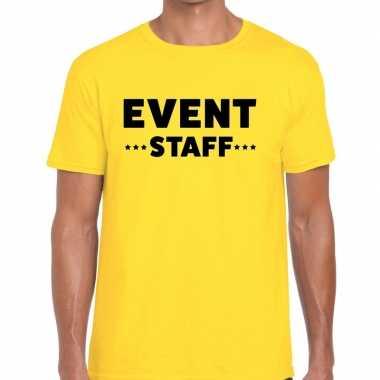 Goedkope personeel t shirt geel met event staff bedrukking voor heren