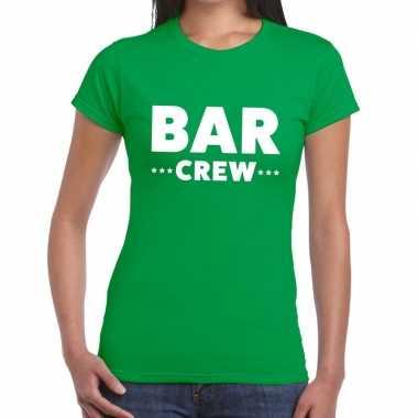 Goedkope personeel t shirt groen met bar crew bedrukking voor dames