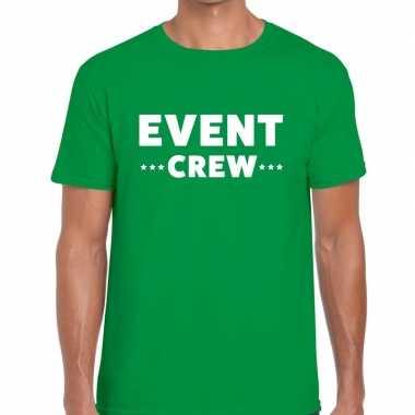 Goedkope personeel t shirt groen met event crew bedrukking voor heren