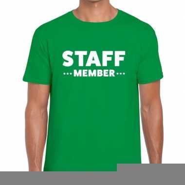 Goedkope personeel t shirt groen met staff member bedrukking voor her
