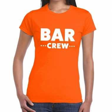 Goedkope personeel t shirt oranje met bar crew bedrukking voor dames
