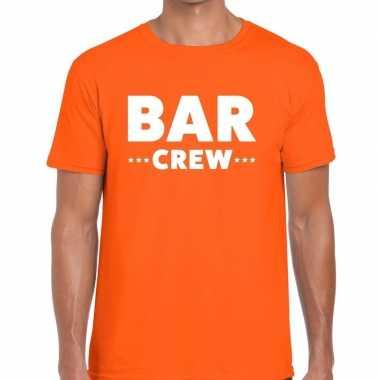 Goedkope personeel t shirt oranje met bar crew bedrukking voor heren