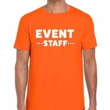 Goedkope personeel t shirt oranje met event staff bedrukking voor her