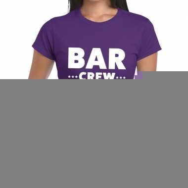 Goedkope personeel t shirt paars met bar crew bedrukking voor dames