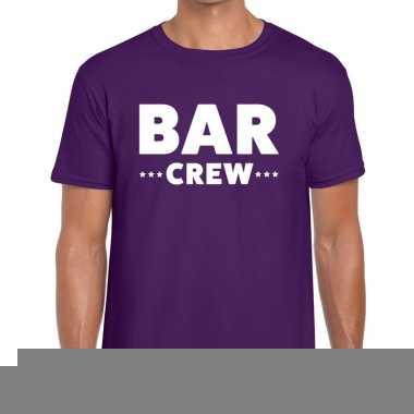 Goedkope personeel t shirt paars met bar crew bedrukking voor heren