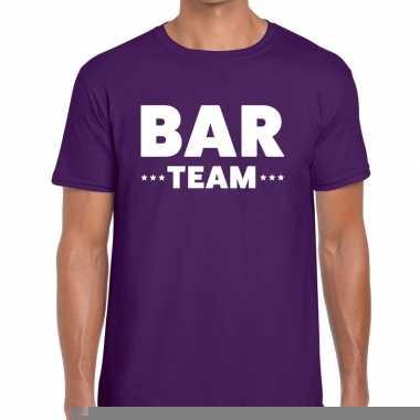 Goedkope personeel t shirt paars met bar team bedrukking voor heren