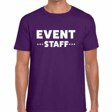 Goedkope personeel t shirt paars met event staff bedrukking voor here