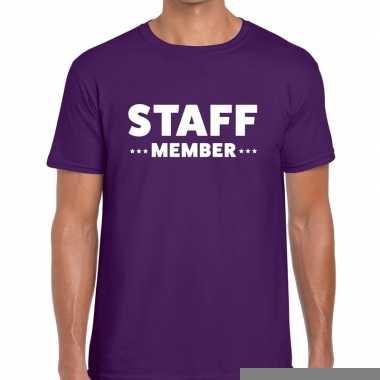 Goedkope personeel t shirt paars met staff member bedrukking voor her